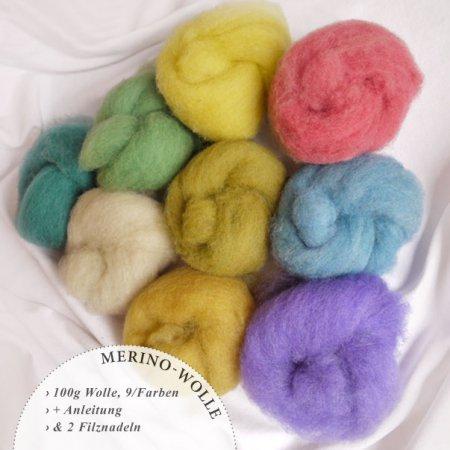 Filzwolle in neun Farben