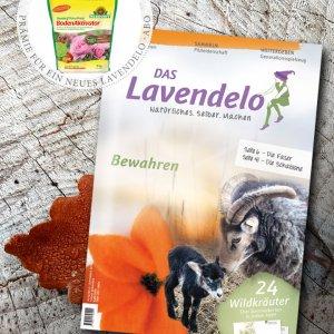 Jahresabo Lavendelo mit Prämie TerraPreta Bodenaktivator der Firma Neudorff